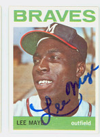 Lee Maye AUTOGRAPH d.02 1964 Topps #416 Braves CARD IS CLEAN EX  [SKU:MayeL1263_T64BBR]