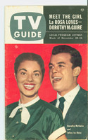 1953 TV Guide Nov 20 Julius LaRosa and Dorothy McGuire Mid States edition Very Good to Excellent  [Wear, scuffing and creasing on cover, label stamped on reverse]