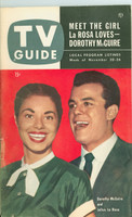 1953 TV Guide Nov 20 Julius LaRosa and Dorothy McGuire NY Metro edition Very Good to Excellent - No Mailing Label  [Lt wear and toning on covers, contents fine]
