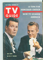 1959 TV Guide Sep 5 James Garner and Jack Kelly of Maverick (Classic Cover) Philadelphia edition Excellent to Mint - No Mailing Label  [Lt toning along binding, ow clean]