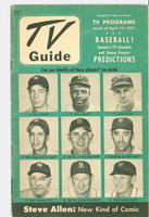 1951 TV Guide April 14 Baseball - cv: Jackie Robinson, Joe DiMaggio, Phil Rizzuto et al (32 pgs) NY Metro edition Very Good to Excellent - No Mailing Label  [Wear and scuffing on cover, lt moisture on back cover, contents fine]