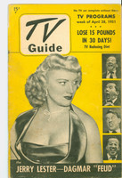 1951 TV Guide April 28 Dagmar and Jerry Lester (48 pgs) NY Metro edition Very Good to Excellent  [Lt moisture, wear on both covers, contents fine]