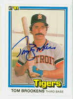Tom Brookens AUTOGRAPH 1981 Donruss #6 Tigers 