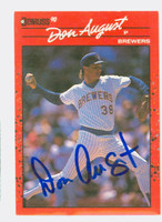 Don August AUTOGRAPH 1990 Donruss Brewers 