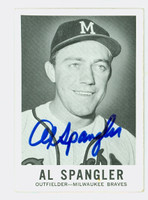 Al Spangler AUTOGRAPH 1960 Leaf #38 Braves CARD IS CLEAN VG/EX