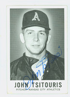 John Tsitouris AUTOGRAPH d.15 1960 Leaf #63 Athletics CARD IS G/VG; CRN WEAR