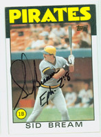 Sid Bream AUTOGRAPH 1986 Topps Pirates 