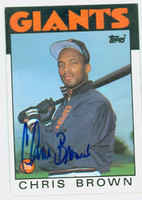 Chris Brown AUTOGRAPH d.06 1986 Topps Giants 