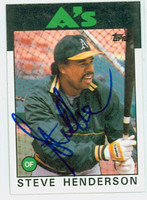 Steve Henderson AUTOGRAPH 1986 Topps #748 Athletics 