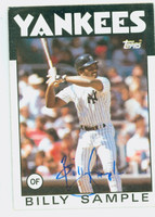 Billy Sample AUTOGRAPH 1986 Topps #533 Yankees 