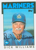 Dick Williams AUTOGRAPH d.11 1986 Topps Traded Mariners 