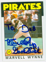 Marvell Wynne AUTOGRAPH 1986 Topps #525 Pirates 