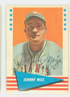 Johnny Mize AUTOGRAPH d.93 1961 Fleer Greats #63 Giants 