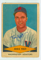 Eddie Yost AUTOGRAPH d.12 1954 Red Heart #32 Senators CARD IS F/P; SURF WEAR, AUTO CLEAN