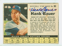 Hank Bauer AUTOGRAPH d.07 1961 Post #90 Athletics BOX CARD IS G/VG; CRN WEAR