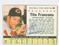 Tito Francona AUTOGRAPH 1961 Post #64 Indians BOX CARD IS CLEAN EX