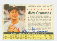 Alex Grammas AUTOGRAPH 1961 Post #177 Cardinals COMP CARD IS G/VG; CRN WEAR, AUTO CLEAN