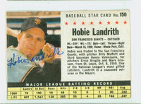 Hobie Landrith AUTOGRAPH 1961 Post #150 Giants BOX CARD IS POOR, CREASES, GLUE RESIDUE ON REVERSE