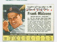 Frank Malzone AUTOGRAPH d.15 1961 Post #48 Red Sox BOX CARD IS F/G; CREASE