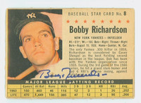 Bobby Richardson AUTOGRAPH 1961 Post #8 Yankees COMP CARD IS F/P; HEAVY CREASING, DISCOLORATION, AUTO CLEAN