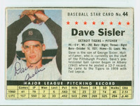 Dave Sisler AUTOGRAPH d.11 1961 Post #44 Tigers BOX CARD IS G/VG; CRN WEAR, AUTO CLEAN
