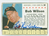 Bob Wilson AUTOGRAPH d.14 1961 Post #66 Indians BOX CARD IS VG; CRN WEAR