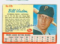 Bill Virdon AUTOGRAPH 1962 Post #175 Pirates CARD IS VG; CRN WEAR