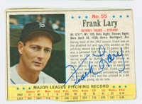 Frank Lary AUTOGRAPH d.17 1963 Post #55 Tigers CARD IS F/G; CREASES, MISCUT, EDGE OVERCUT
