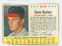 Steve Barber AUTOGRAPH d.07 1963 Post #64 Orioles CARD IS POOR, VERY HEAVY SURF WEAR