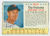 Tito Francona AUTOGRAPH 1963 Post #67 Indians CARD IS G/VG; CRN WEAR, WRT ON REVERSE