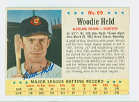 Woodie Held AUTOGRAPH d.09 1963 Post #69 Indians CARD IS VG, LT CREASE; AUTO CLEAN