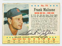Frank Malzone AUTOGRAPH d.15 1963 Post #79 Red Sox CARD IS F/G; CREASE, AUTO CLEAN