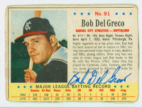 Bobby Del Greco AUTOGRAPH 1963 Post #91 Athletics CARD IS F/G; HEAVY CRN WEAR, AUTO CLEAN