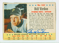 Bill Virdon AUTOGRAPH 1963 Post #142 Pirates CARD IS F/P; CREASES