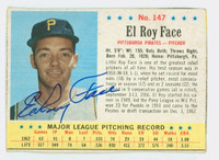 Roy Face AUTOGRAPH 1963 Post #147 Pirates CARD IS CLEAN VG, EDGE IS OVER CLIPPED