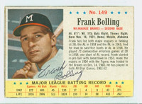 Frank Bolling AUTOGRAPH 1963 Post #149 Braves CARD IS CLEAN VG, EDGE IS OVER CLIPPED
