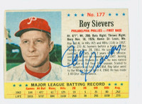 Roy Sievers AUTOGRAPH d.18 1963 Post #177 Phillies CARD IS F/P; CREASES, HEAVY SURF WEAR