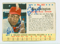Wes Covington AUTOGRAPH d.11 1963 Post #182 Phillies CARD IS VG; CRN WEAR; PERSONALIZED; MK ON REVERSE