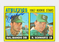 Sal Bando AUTOGRAPH 1967 Topps #33 Athletics ROOKIE CARD IS F/G; CREASE, AUTO CLEAN