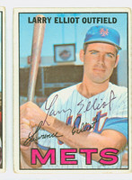 Larry Elliot AUTOGRAPH 1967 Topps #23 Mets CARD IS G/VG; CRN WEAR, AUTO CLEAN