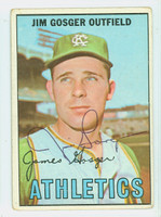 Jim Gosger AUTOGRAPH 1967 Topps #17 Athletics CARD IS F/G; CREASE, AUTO CLEAN, MARK ON REV