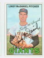 Lindy McDaniel AUTOGRAPH 1967 Topps #46 Giants CARD IS CLEAN EX