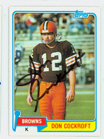 Don Cockroft AUTOGRAPH 1981 Topps Football Browns 