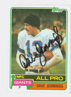 Dave Jennings AUTOGRAPH d.13 1981 Topps Football Giants 