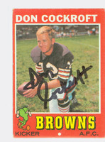 Don Cockroft AUTOGRAPH 1971 Topps Football #193 Browns CARD IS VG; CRN DING