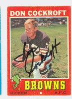Don Cockroft AUTOGRAPH 1971 Topps Football #193 Browns CARD IS VG/EX