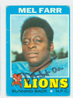 Mel Farr AUTOGRAPH d.15 1971 Topps Football #236 Lions CARD IS F/P; CREASES
