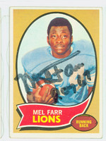 Mel Farr AUTOGRAPH d.15 1970 Topps Football #52 Lions CARD IS G/VG: CRN WEAR, LT CREASE