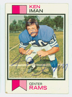 Ken Iman AUTOGRAPH d.10 1973 Topps Football #152 Rams CARD IS POOR; HEAVY CREASE