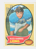 Alex Karras AUTOGRAPH d.12 1970 Topps Football #249 Lions CARD IS F/G; LT CREASES